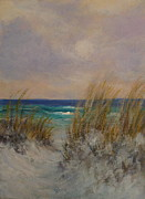 Sand Dunes Paintings - San Dunes and Sea Oats by Amber Palomares