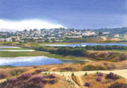Lagoon Painting Prints - San Elijo and Manchester Ave Print by Mary Helmreich