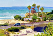 Highway Painting Posters - San Elijo Campground Cardiff Poster by Mary Helmreich