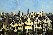 American City Drawings Prints - San Francisco 12 - Expressionistic Print by Peter Art Prints Posters Gallery
