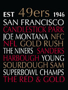 Poster Framed Prints Digital Art - San Francisco 49ers by Jaime Friedman