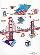 San Francisco Bay Drawings Prints - San Francisco Afloat Print by Michael Friend