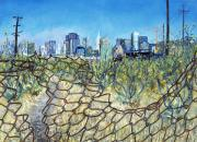 Ballpark Paintings - San Francisco and Flowery Vagabound Path of Yesterday by Asha Carolyn Young