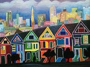 San Francisco Paintings - San Francisco at Dusk by Mila Kronik