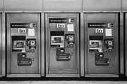 Vending Machine Photo Framed Prints - San Francisco BART Station Ticket Machines - 5D20617 - Black and White Framed Print by Wingsdomain Art and Photography