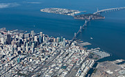 Stadium Design Photo Posters - San Francisco Bay Bridge Aerial Photograph Poster by John Daly
