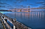 "Lights ""san Francisco"" Prints - San Francisco Bay Bridge at dusk Print by Scott Norris"