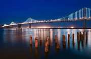 Bay Bridge Photos - San Francisco Bay Bridge Light Show by About Light  Images