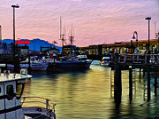 Docked Boat Digital Art Framed Prints - San Francisco Bay Framed Print by Camille Lopez