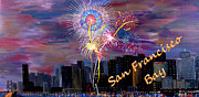 4th July Painting Prints - San Francisco Bay City Celebration Print by Mark Moore