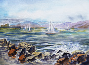 Art Studio Paintings - San Francisco Bay from Richmond Shore Line by Irina Sztukowski