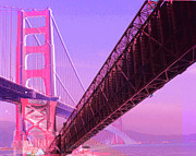Bay Bridge Mixed Media Metal Prints - San Francisco Bay Metal Print by GANECH Graphics