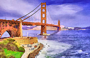 Live Art Framed Prints - San Francisco Bridge Framed Print by Yury Malkov