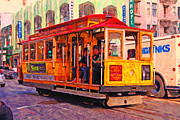 Bay Area Digital Art Metal Prints - San Francisco Cable Car - Photo Artwork Metal Print by Wingsdomain Art and Photography