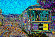 Tourist Attraction Digital Art Metal Prints - San Francisco Cablecar - 7D14097 Metal Print by Wingsdomain Art and Photography