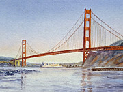 Bay Bridge Painting Metal Prints - San Francisco California Golden Gate Bridge Metal Print by Irina Sztukowski