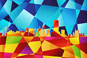 San Francisco California Skyline Print by Michael Tompsett