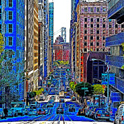 Bay Bridge Prints - San Francisco California Street 7D7187 20130505v3 square Print by Wingsdomain Art and Photography