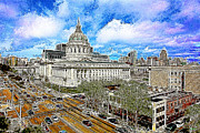 Street Photography Digital Art Prints - San Francisco City Hall 5D22507 Photoart Print by Wingsdomain Art and Photography