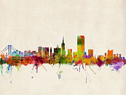 Urban Watercolor Digital Art Metal Prints - San Francisco City Skyline Metal Print by Michael Tompsett