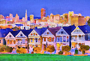 Live Art Framed Prints - San Francisco City View 1 Framed Print by Yury Malkov