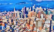 Live Art Framed Prints - San Francisco City View 2 Framed Print by Yury Malkov