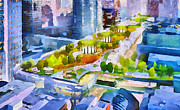 Live Art Framed Prints - San Francisco City View 3 Framed Print by Yury Malkov