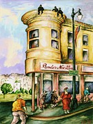 Picturesque Drawings Framed Prints - San Francisco Corner 95 - Watercolor Drawing Illustration Framed Print by Peter Art Print Gallery  - Paintings Photos Posters