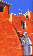 Plaster Pastels Posters - San Francisco de Asis Mission Church Poster by Holly Wright