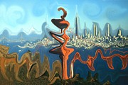 Surrealism Acrylic Prints - San Francisco Earthquake - Surrealistic Modern Art Acrylic Print by Peter Art Prints Posters Gallery