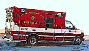 Sam Sheats Photo Framed Prints - San Francisco Fire Dept. Medic Vehicle Framed Print by Samuel Sheats