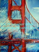 Golden Gate Drawings Posters - San Francisco Golden Gate Bridge  Poster by Eric  Schiabor