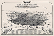 Old Map Photo Metal Prints - San Francisco Graphic Map 1875 Metal Print by Daniel Hagerman