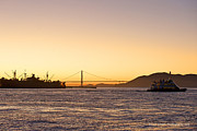 San Francisco Harbor Golden Gate Bridge At Sunset Print by Artist and Photographer Laura Wrede