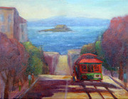 Alcatraz Painting Prints - San Francisco Hills Print by Carolyn Jarvis
