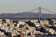 Oakland Neighborhood Prints - San Francisco hillside homes and Bay Bridge. Print by Trekkerimages Photography