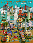 Historical Buildings Drawings Prints - San Francisco illustration Print by Maria Rabinky