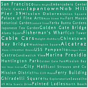 World Cities Photo Posters - San Francisco in Words Algae Poster by Sabine Jacobs