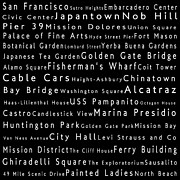 Bay Bridge Photos - San Francisco in Words Black by Sabine Jacobs