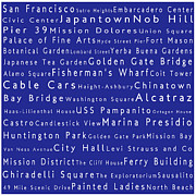 Fishermans Wharf Posters - San Francisco in Words Blue Poster by Sabine Jacobs
