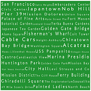 Japanese Tea Garden Prints - San Francisco in Words Green Print by Sabine Jacobs