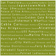 Japanese Tea Garden Prints - San Francisco in Words Olive Print by Sabine Jacobs