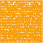 Japanese Tea Garden Prints - San Francisco in Words Orange Print by Sabine Jacobs