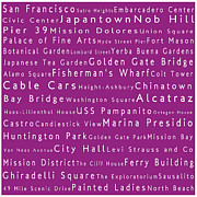 World Cities Photo Posters - San Francisco in Words Pink Poster by Sabine Jacobs