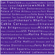 World Cities Photo Posters - San Francisco in Words Purple Poster by Sabine Jacobs