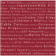 Japanese Tea Garden Prints - San Francisco in Words Red Print by Sabine Jacobs