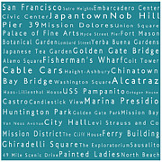 Japanese Tea Garden Prints - San Francisco in Words Teal Print by Sabine Jacobs