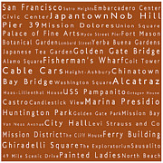 World Cities Posters - San Francisco in Words Toffee Poster by Sabine Jacobs