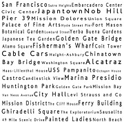 Bay Bridge Photos - San Francisco in Words White by Sabine Jacobs