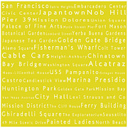 World Cities Photo Posters - San Francisco in Words Yellow Poster by Sabine Jacobs